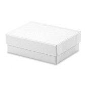 "100 Jewelry Box 3 1/8"" x 2 1/4"" x 1""H (Cotton-Filled) White Linen"