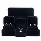 Velvet Jewelry Box Ring Pendant Earring Bracelet Necklace Black