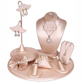 9 - Piece Jewelry Display Showcase Set  Steel Pink