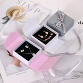 "Flip-Open Ribbon Jewelry Box Magnetic Closure 3 1/4"" x 3 1/8"" x 1 3/8""H"