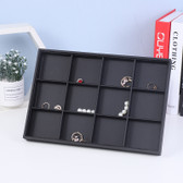 Black Leather Jewellery Display Tray 12-Compartment