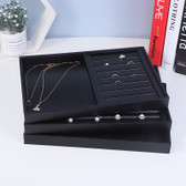 Black Leather Jewellery Display Tray Necklace Ring Combo