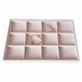 Velvet 12-Compartment Jewelry Tray Cream