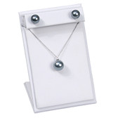 Pendant + Earring Jewelry Set Display White Leather