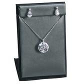 Pendant + Earring Jewelry Set Display Steel Grey