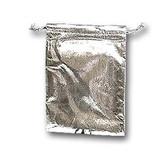 "100 Metallic Fabric Bag Jewellery Gift Pouch Silver 4x4.75"""