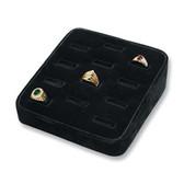 Ring Display Tray 12 Slot Ramp Black Velvet
