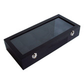 Glass-Top 10 Watch Bracelet Display Show Case Black