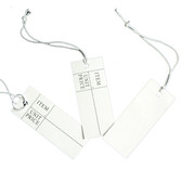 1000 Tie-On String Price Label Tag White Rectangle 1.5""