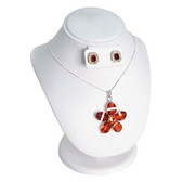 """Padded Necklace Earring Set Combo Display 8.5""""H White Leather"""