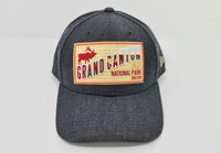 Grand Canyon Baseball Hat Dark Denim Color with Elk Patch