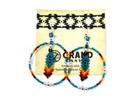 Earrings Navajo Beadwork Hoop Dangles