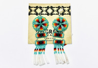 Earrings Navajo Beadwork Tiered Dangles