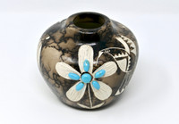 Navajo Horsehair Pottery with Flower & Bird