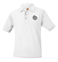 A+ Polo Pique Short Sleeve Unisex White with Logo