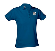 A+ Female Navy Short Sleeve Pique Polo with Logo