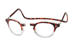 Clic Magnetic Reading Glasses Vintage Oval Style in Demi-Tortoise Clear :: Regular Fit
