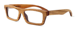 """Specs of Wood Designer Wooden Eyewear Made in the USA """"The Three Tree Exec"""" in Sandal Wood (Sandal Brown) :: Rx Single Vision"""