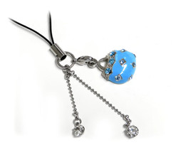 Cell Phone Gems Charms Lanyard Accessory 6000 in Blue