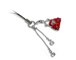 Cell Phone Gems Charms Lanyard Accessory 6004 in Red