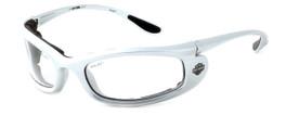 Harley-Davidson HDSZ702 Safety Glasses Sport Wrap-Around Design with Foam Inserts (Silver Frame & Clear Lens)