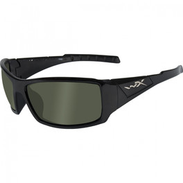 Wiley X Twisted in Gloss Black & Polarized Green Lens