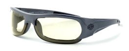 Harley-Davidson HDSZ701 Safety Glasses Sport Wrap-Around Design with Foam Inserts (Silver Frame & Yellow Lens)
