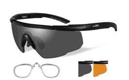 Wiley X Rx Saber Advanced Safety Sunglasses in Matte Black with Rust/Smoke Lens Set