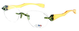 """I Wear America Designer Rimless Eyewear Made in the USA """"Freedom 1"""" in Olive Oil"""