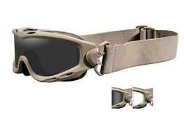 Wiley X Spear Tactical Safety Goggles in Tan with Smoke & Clear Lens