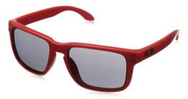 Oakley Designer Sunglasses Holbrook OO9102-83 in Matte-Red & Grey Lens