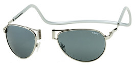 Clic Magnetic Sunglasses Silver Aviator Style :: Regular Fit