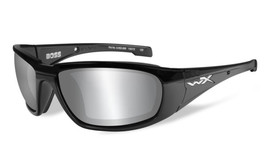 Wiley-X High Performance Eyewear Boss Sunglasses in Black with Silver Flash Grey Lens (CCBOS01)