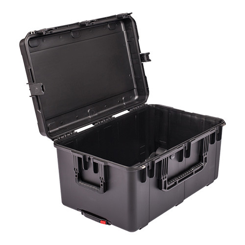3i-2918-14B-E military standard shipping case. Empty. Includes wheels and pull handle.