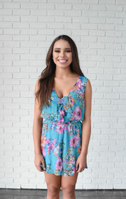 The Haley Turquoise Floral Romper