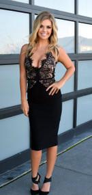 Rare London Scallop Lace Black Bodice Midi Dress