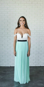 Limited Edition Rare London Lace Off Shoulder Mint & Cream Dress