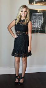 Limited Edition Rare London Black Crochet Drop Waist Dress