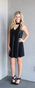 J.O.A Black Shimmer Choker Dress