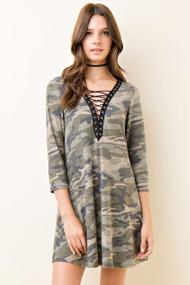 Army Lace Up Dress