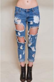 The Makenna Frayed Distressed Boyfriend Jeans
