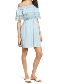 Lush Off The Shoulder Dress- Sky Blue