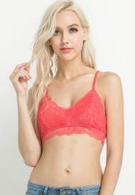 Bright Coral Lace Strappy Back Bralette