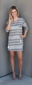 Lucca Couture Lace Up Shirt Dress