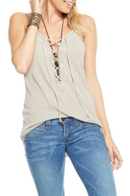 Chaser Ribbed Lace Up Tank- Sand