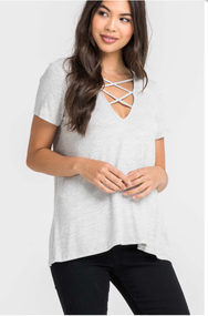 The Candace Lace Up Top-Grey