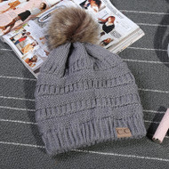 C.C. Beanie with fur Pom Pom- Grey