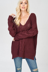 The Gracie Sweater- Red Bean