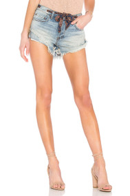 Free People Sashed & Relaxed Jean Shorts- Blue