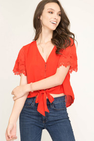 The Hilary Top- Tomato Red